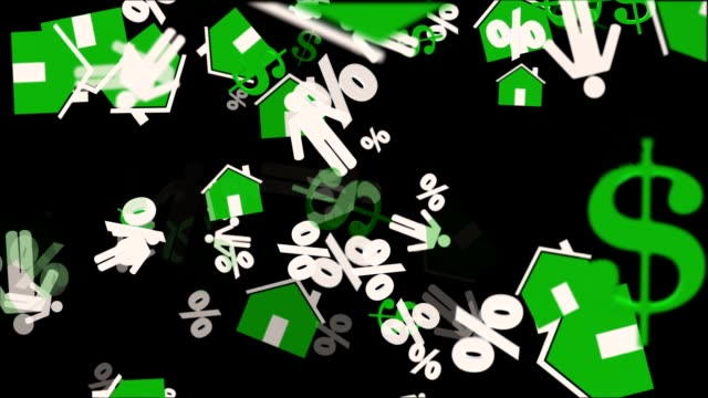 Houses,person,dollar and persent icons in green and white on black video