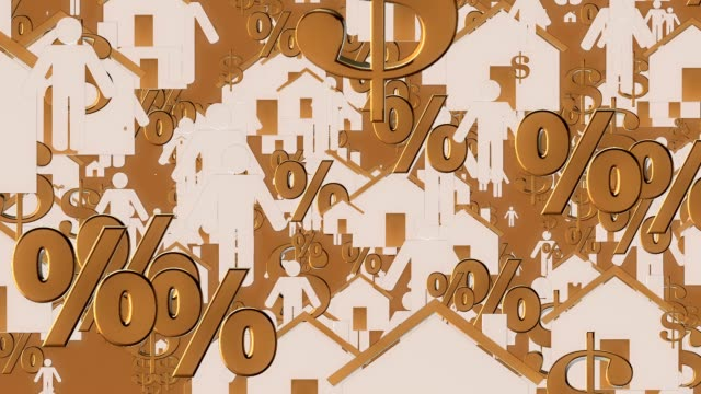 Houses,person,dollar and persent icons in white and golden colors video
