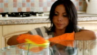 Housewife cleaning table in the kitchen video