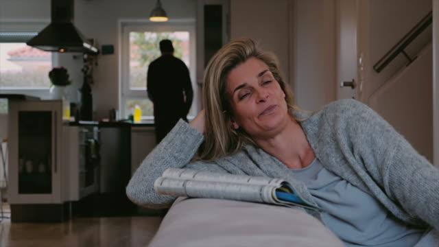Housewife taking a relaxing break video