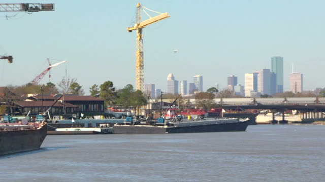Houston skyline from industrial park with trains video