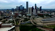 Houston Texas Aerial Fly By Skyline Cityscape with Traffic on Interstate I10 video