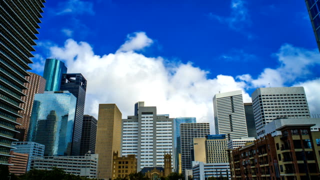 Houston Texas Skyline Clouds Time Lapse 4K 1080p video