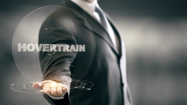 Hovertrain with hologram businessman concept video
