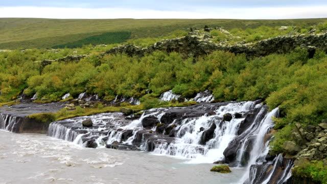 Hraunfossar waterfall in west Iceland video