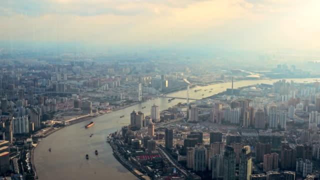 Huangpu bridge and Huangpu river in Shanghai Bund at sunset. video