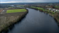 Hudson River - Aerial View - New York,  Saratoga County,  United States video