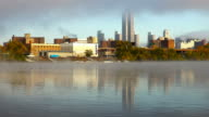 Hudson River Fog and the Albany New York skyline video