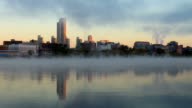 Hudson River Mist and the Albany New York skyline video