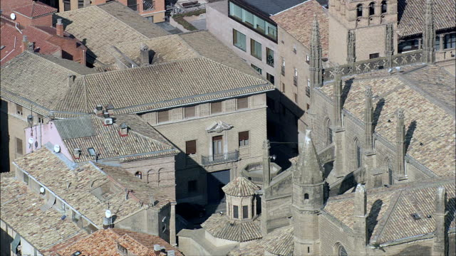 Huesca Cathedral  - Aerial View - Aragon, Huesca, Spain video