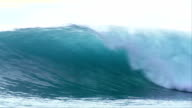 Huge 20 foot wave breaking in Indonesia, slow motion video