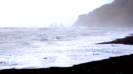 Huge arched beach with black sand. On the horizon are visible rocks in the sea. Cape Dirholaey in southern Iceland video