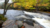 Huge boulders and colorful fall forest on a riverside video