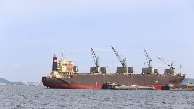 Huge cargo ship moving load video