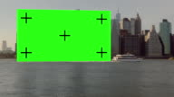 Huge Chroma Key sign dragging after boat New York City video