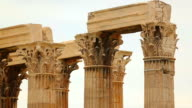 Huge columns of Zeus Temple dedicated to king of Olympian gods in Athens, Greece video