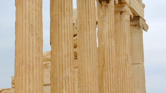 Huge marble colonnade of Erechtheion in Athens, remains of ancient video