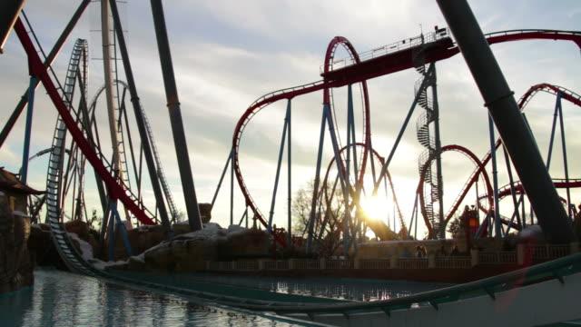 Huge Roller Coasters at an Amusement Park video