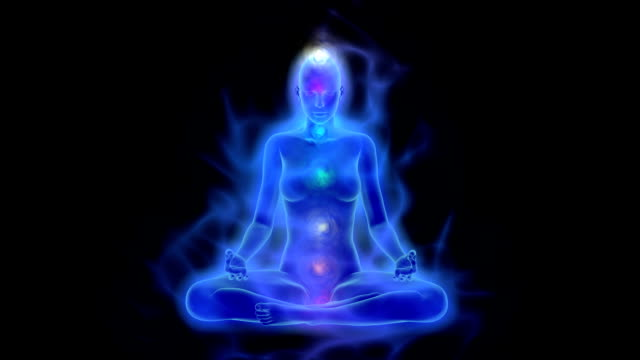 Human energy body, aura, chakras in meditation video