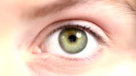 Human Eye. Blue and green. Regular skin. video