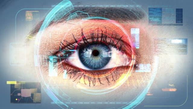 Human Eye Identification Scan Technology Interface 4K video