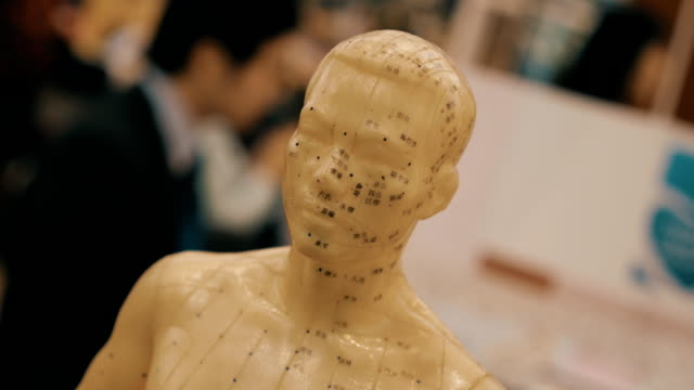Human figure in ivory color on which acupuncture points are signed hieroglyphs video