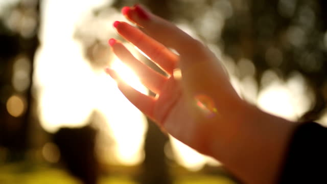 Human hand and sun light video