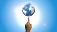 Human Hand Pointing Blue Globe video
