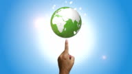 Human Hand Pointing Green Globe video
