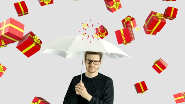 Human person man who do not like holidays gifts presents celebrates christmas and fun concept video