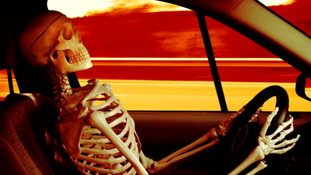 Human skeleton driving a car video