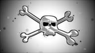 human skull crossbones logo and a crown of laurel video