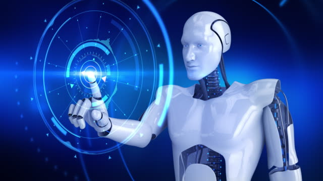 Humanoid male robot activating digital hud and turning slowly video