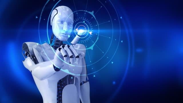 Humanoid male robot activating digital hud video