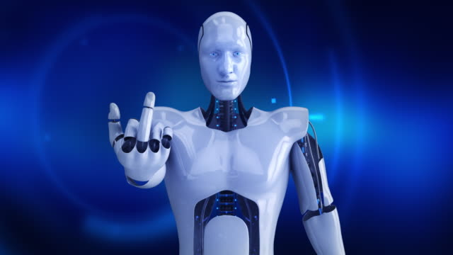 Humanoid male robot giving middle finger video