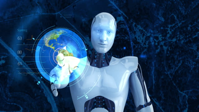 Humanoid male robot touching digital globe video