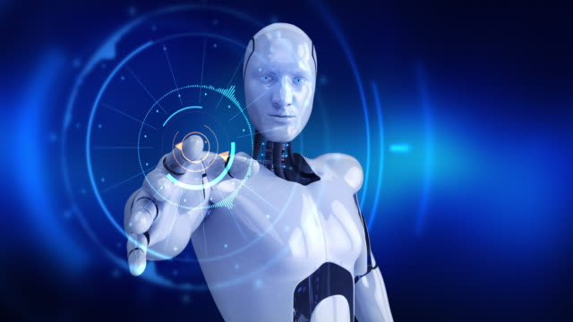 Humanoid male robot turning slowly and activating digital hud video