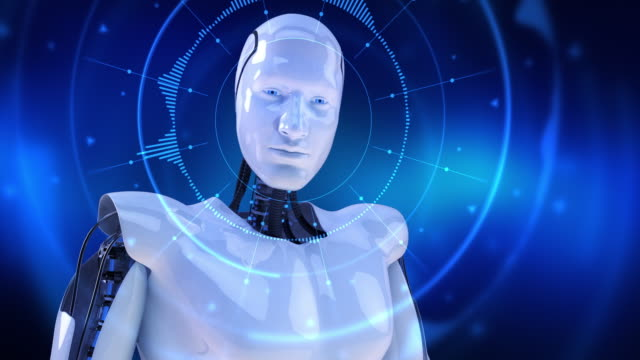 Humanoid male robot turning slowly and digital hud activating slowly video