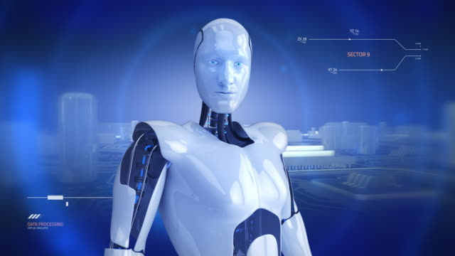 Humanoid male robot turning slowly with computer motherboard animation video