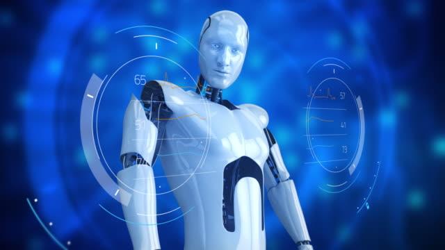 Humanoid male robot turning slowly with digital hub video