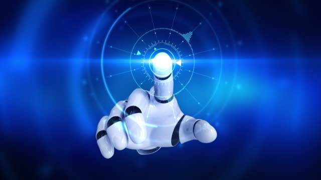 Humanoid robot hand touching screen and activating digital hud video