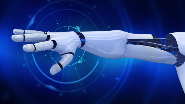 Humanoid robot showing his arm with digital background animation video