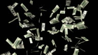 Hundred Dollar Bills Falling (Alpha  HD) video