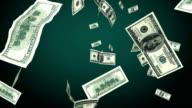 Hundred Dollar bills flying in looped animation. Alpha mask. video