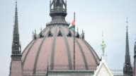 Hungarian flag at parliament dome video