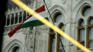 Hungarian flag under the rain video