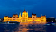 Hungarian Parliament at night, Budapest, Hungary, Time Lapse video