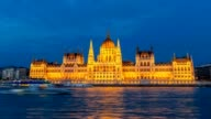 Hungarian Parliament timelapse at night, Budapest, Hungary, HD Time lapse video