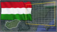 Hungary flag and map animation video