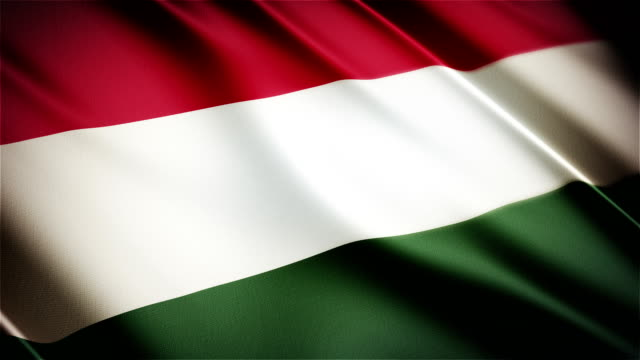 Hungary realistic national flag seamless looped waving animation video